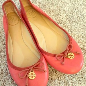 Tory Burch light red leather ballet flats size 6